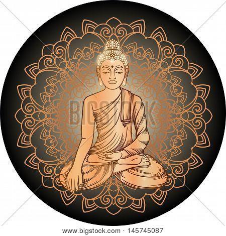 Buddha Gautama With Gold Mandala Vector Illustration. Vintage Decorative Zentangle Hand Drawing. Ind