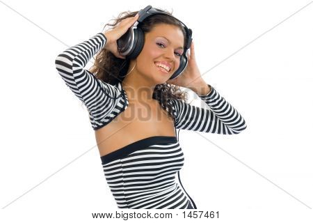 Brunette Girl Listening Music