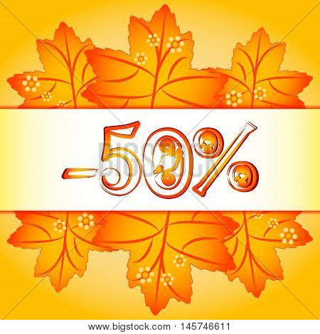 Autumn sale banner with sample of percents and orange maple leaves on yellow background. Vector illustration