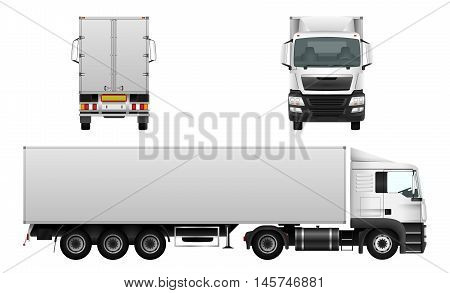 Cargo truck delivery vehicle isolated on white car template for corporate identity