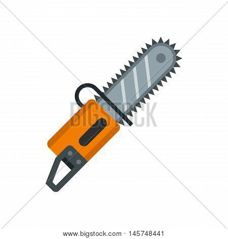 Chainsaw icon in flat style isolated on white background. Saw symbol vector illustration