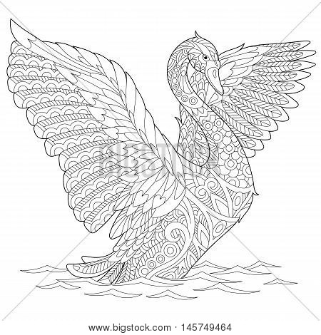 Stylized beautiful swan isolated on white background. Freehand sketch for adult anti stress coloring book page with doodle and zentangle elements.