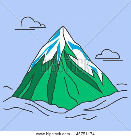 Mountain with clods. Green mountain with snowy peak. Color outlined illustration.  Vector.