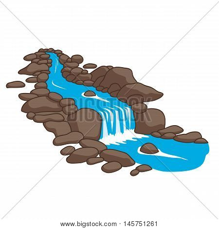 River  flowing down stream across a stones Isolated vector illustration on a white background.