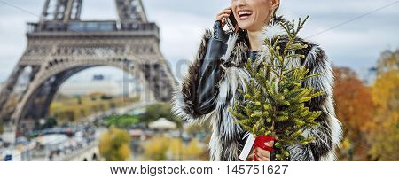 Fashion-monger With Christmas Tree Speaking On Mobile, Paris