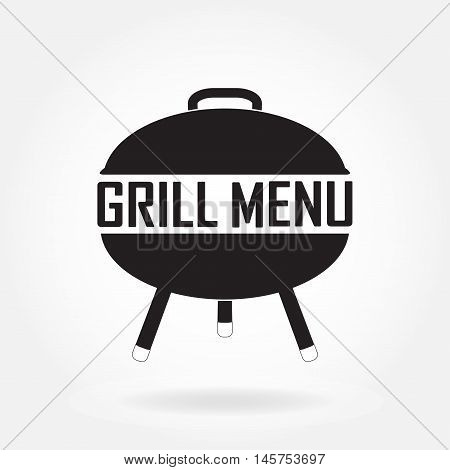 Grill and barbecue menu design template. Grill or barbecue icon isolated on white background. Vector Illustration.