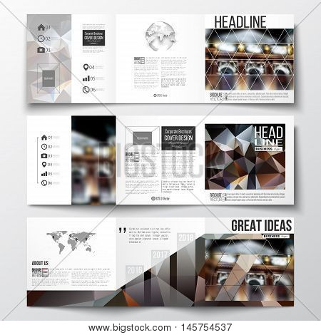 Vector set of tri-fold brochures, square design templates with element of world map and globe. Colorful polygonal background, blurred image, night city landscape, modern triangular vector texture.