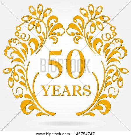 50 years anniversary icon in ornate frame with floral elements. Template for celebration and congratulation design. 50th anniversary golden label. Vector illustration.
