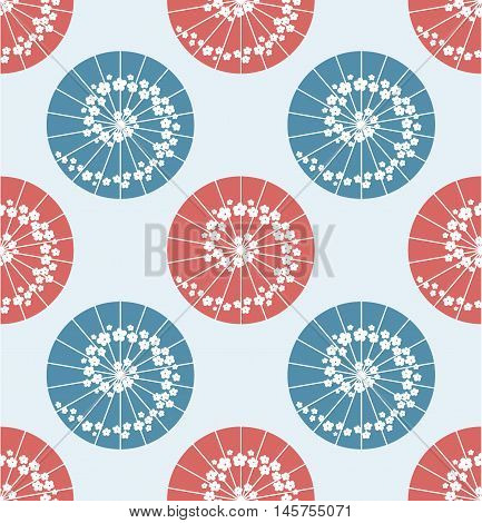 Japanese Umbrella Seamless Pattern Polka Dot Style