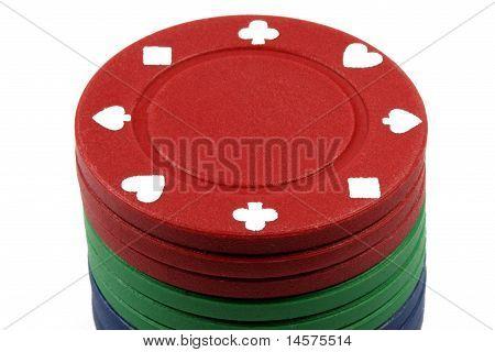 Stacked poker casino chips