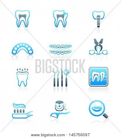Dental care tools and procedures blue-gray icon-set