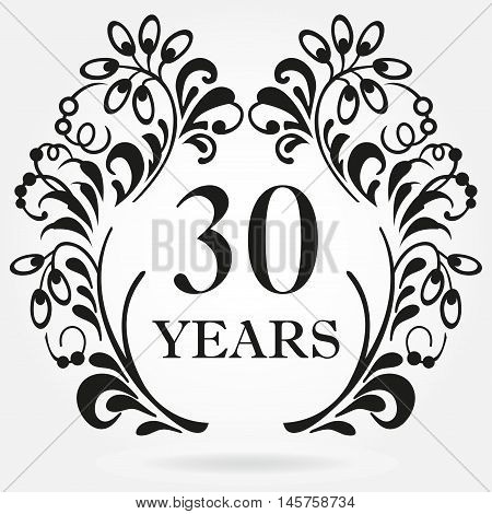 30 years anniversary icon in ornate frame with floral elements. Template for celebration and congratulation design. 30th anniversary label. Vector illustration.