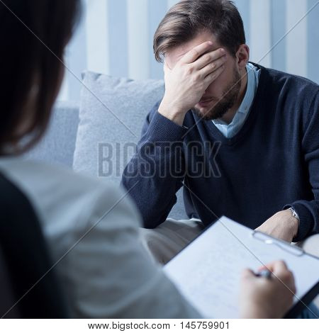 Despair Man At Psychologist's Office