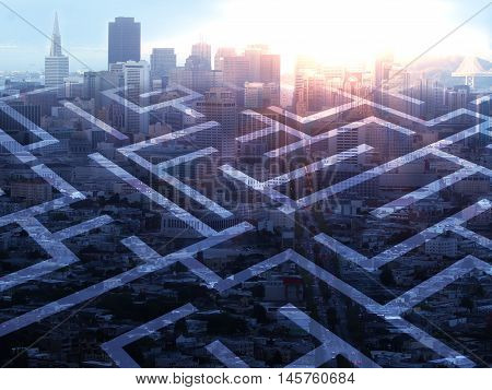Abstract maze on city background with sunlight. Double exposure