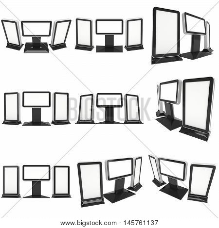 LCD Screen Lightbox Floor Stand set. Blank Trade Show Booth Collection. 3d render of lcd screen isolated on white background. High Resolution Light Box. Ad template for your expo design.
