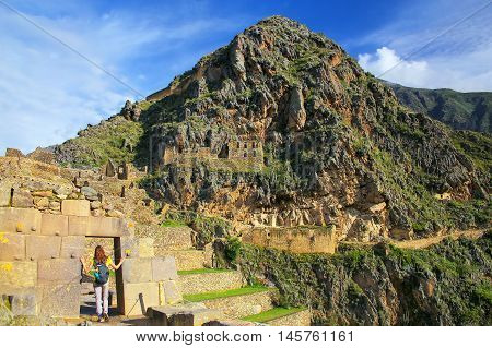 Inca Fortress in Ollantaytambo Peru. Ollantaytambo was the royal estate of Emperor Pachacuti who conquered the region.
