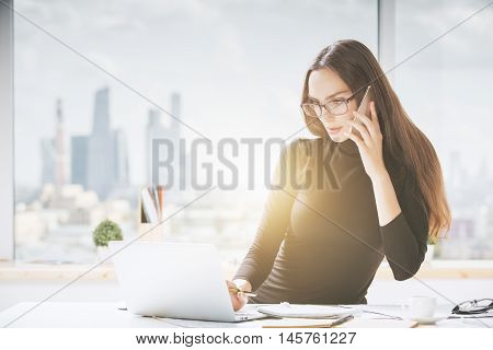 Beautiful Young Woman In Office