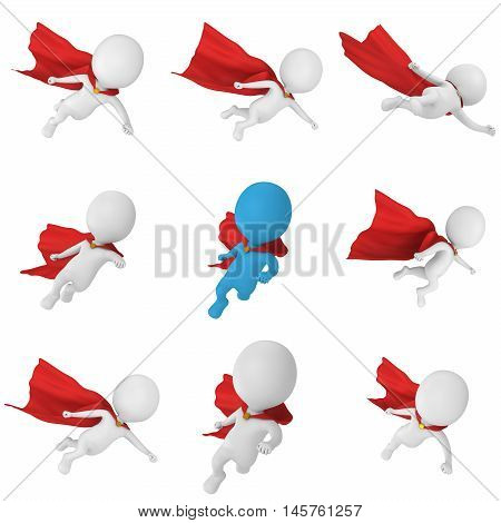 3d man - brave superhero with red cloak. Isolated on white 3d render illustration set
