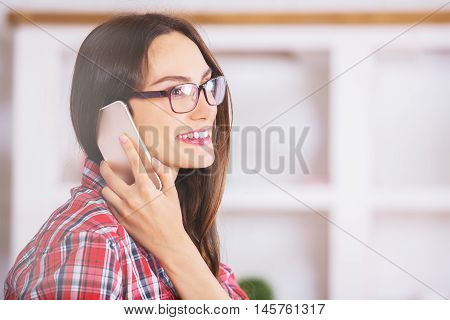 Attractive European Woman On Phone