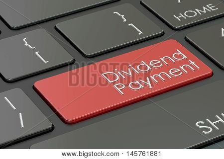 Dividend Payment laptop keyboard button 3D rendering