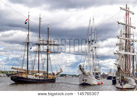 Rostock, Germany - August 2016: Sailing ships Hendrika Bartelds, Loth Lorien, Minerva. Hansesail in Warnemuende and Rostock harbor with lots of sailing ship from all over the world.