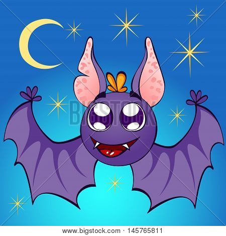 illustration of nice bat on night background