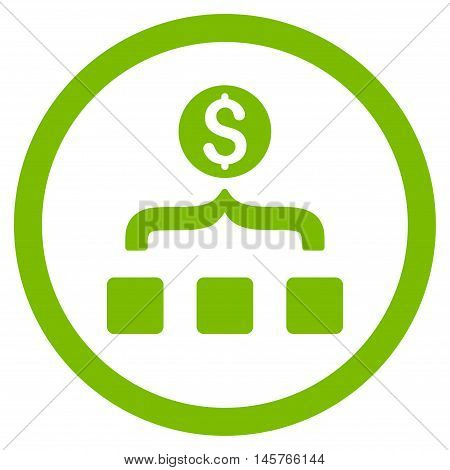 Money Aggregator rounded icon. Vector illustration style is flat iconic symbol, eco green color, white background.