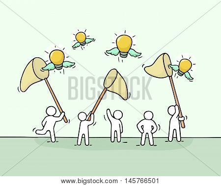 Sketch of working little people with flying lamp ideas. Doodle cute miniature scene of workers trying to catch light bulb. Hand drawn cartoon vector illustration for business design.