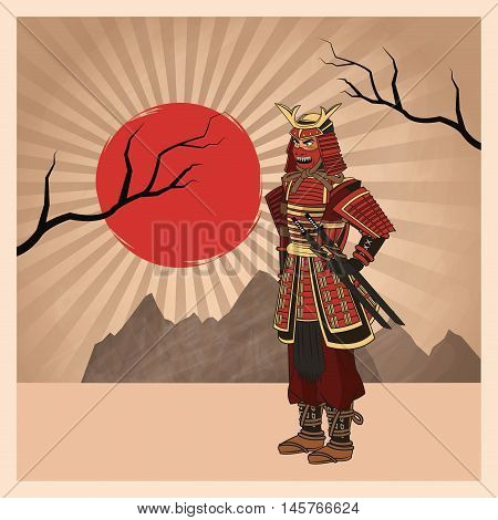 Samurai man cartoon with uniform icon. comic and japan culture. Colorful design. Striped background. Vector illustration