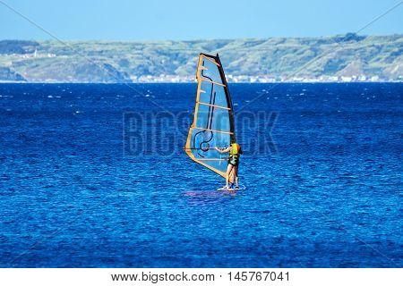 Windsurfer sailing away form the beach, Mali Losinj