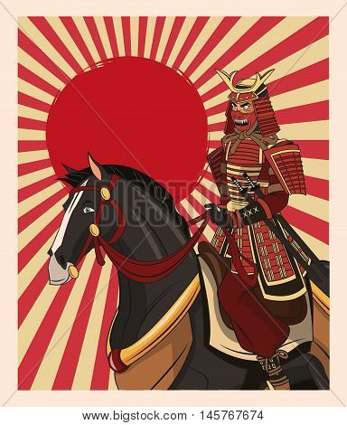 Samurai man cartoon on horse with uniform icon. comic and japan culture. Colorful design. Striped background. Vector illustration
