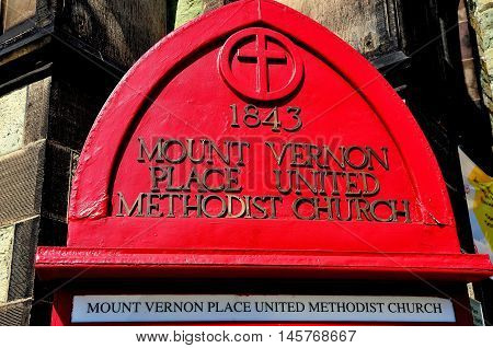 Baltmore Maryland - July 23 2013: Sign at 1843 historic Mount Vernon Place United Methodist Church