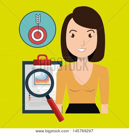 woman clipboard search target vector illustration eps 10