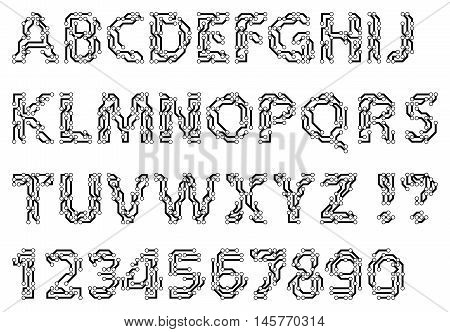 Alphabet of a circuit style letters and digits. Techno style typescript. Vector illustration.