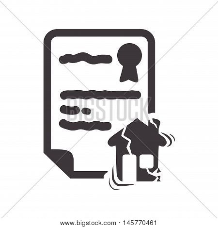 house home broken insurance seal stamp protection security accident icon. Flat and Isolated design. Vector illustration