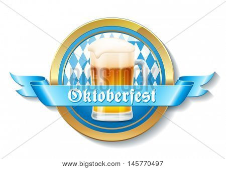 Octoberfest party/festival badge or banner with blue ribbon and a glass of beer in front of a Bavarian flag pattern background