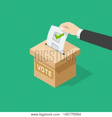 Voting vector illustration, man hand holding political ballot putting in ballot box, concept of election choice or vote, poll