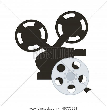 videocamera film reel cinema movie entertainment show icon. Flat and Isolated design. Vector illustration