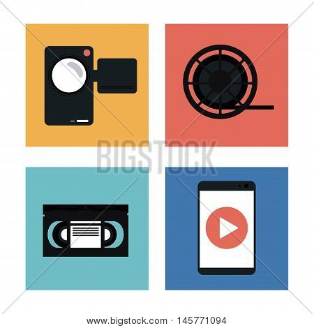 videocamera play smartphone and film reel icon. Video movie cinema and media theme. Black and white design. Vector illustration