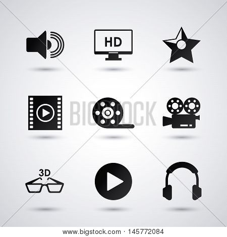 videocamera play glasses headphone and tv icon. Video movie cinema and media theme. Black and white design. Vector illustration