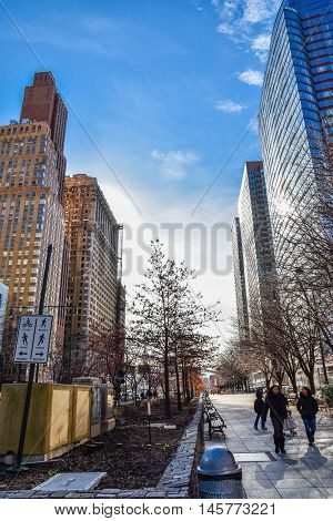 NEW YORK, USA - DECEMBER 28, 2015: View street and buildings on the Hudson River Greenway.