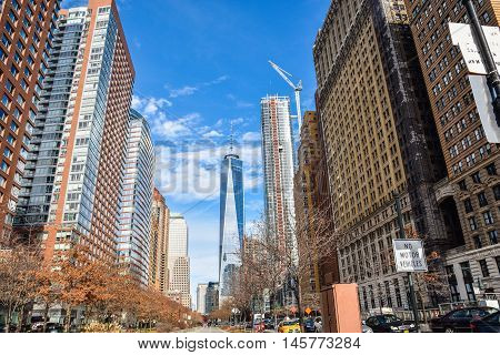 NEW YORK, USA - DECEMBER 28, 2015: View of One Trade Center (Freedom Tower) and other buildings on the Hudson River Greenway.
