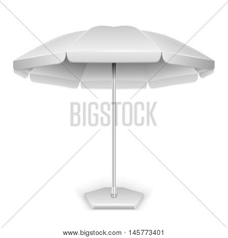White outdoor beach, garden umbrella, parasol for protection from sun and rain isolated on white background. Vector illustration