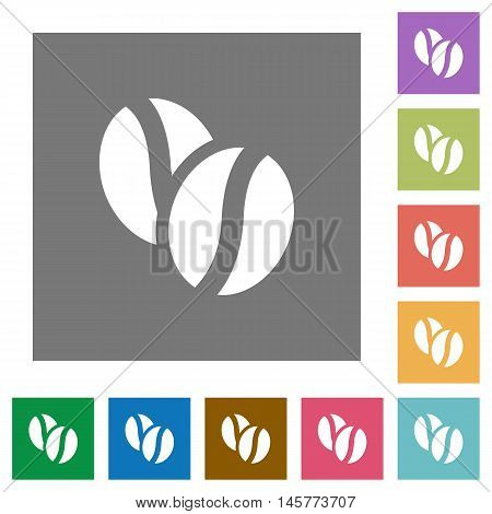 Coffee beans flat icon set on color square background.