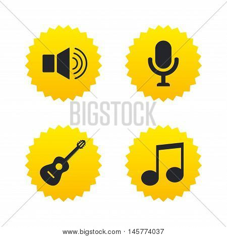 Musical elements icons. Microphone and Sound speaker symbols. Music note and acoustic guitar signs. Yellow stars labels with flat icons. Vector
