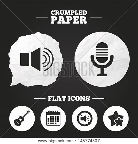 Crumpled paper speech bubble. Musical elements icons. Microphone and Sound speaker symbols. No Sound and acoustic guitar signs. Paper button. Vector