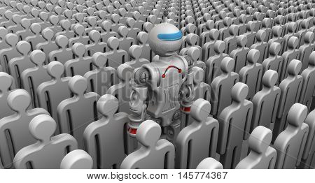 Robot among people. Humanoid robot among a large number of symbolic people. Isolated. 3D Illustration