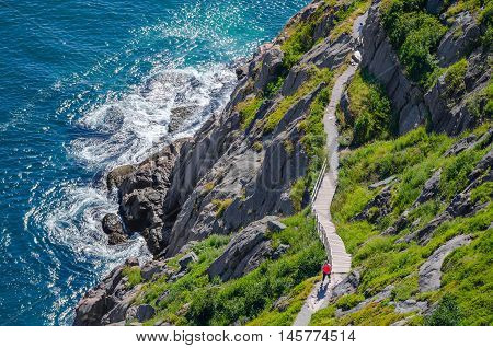 Cabot Trail - Bright summer day - people go hiking along the Cabot Trail in St. John's Newfoundland, Canada.