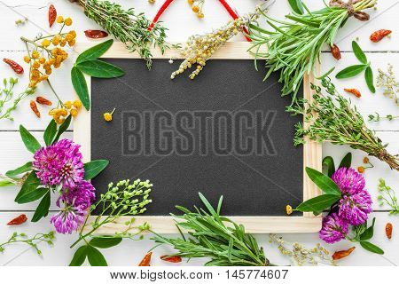 Empty blackboard and healing herbs. Top view flat lay.