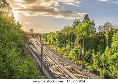 Railways going towards an industrial village - Set of railways going towards a train station surrounded by green trees and under the warm light of a sun setting down.